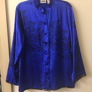 Chico's Silk Asia Inspired Blue Tunic 2